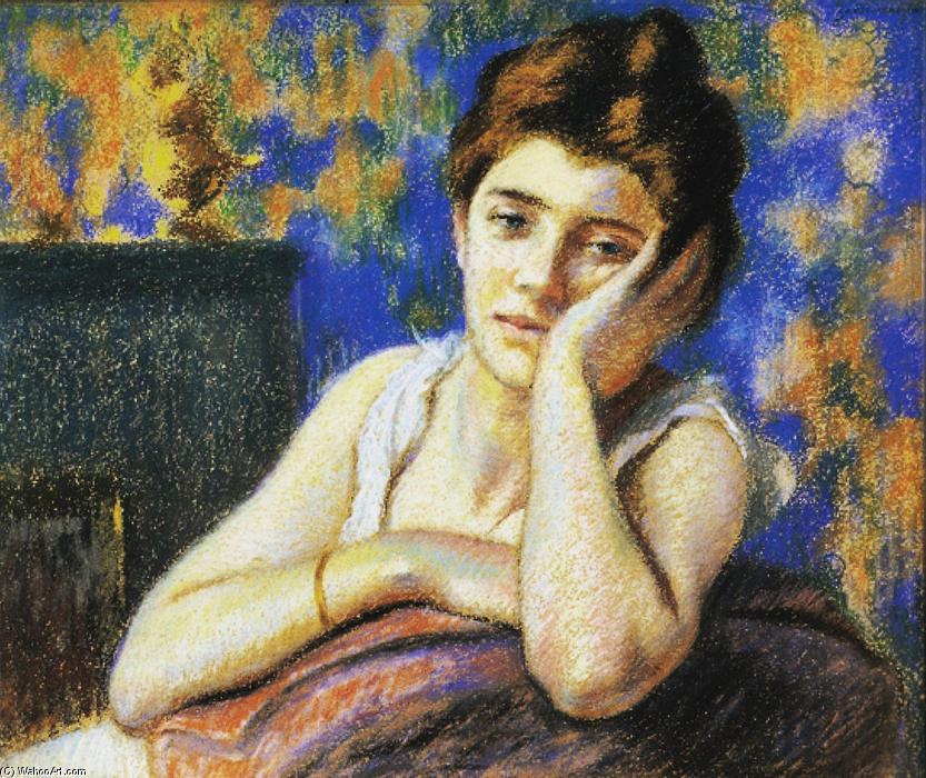 famous painting Woman leaning on a chair of Federico Zandomeneghi