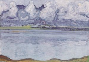 Ferdinand Hodler - Thun, Stockhornkette, in clouds