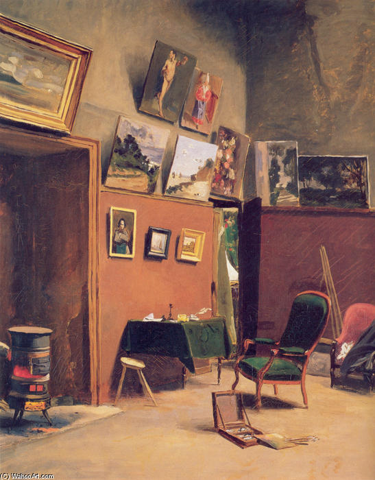 famous painting Studio in the rue de Furstenberg of Jean Frederic Bazille