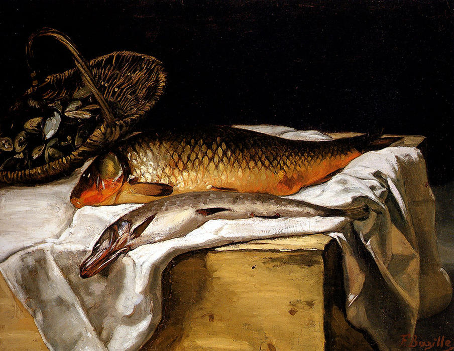 famous painting Still Life with Fish of Jean Frederic Bazille