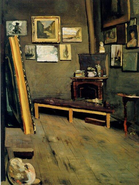 famous painting Studio of The Rue Visconti of Jean Frederic Bazille