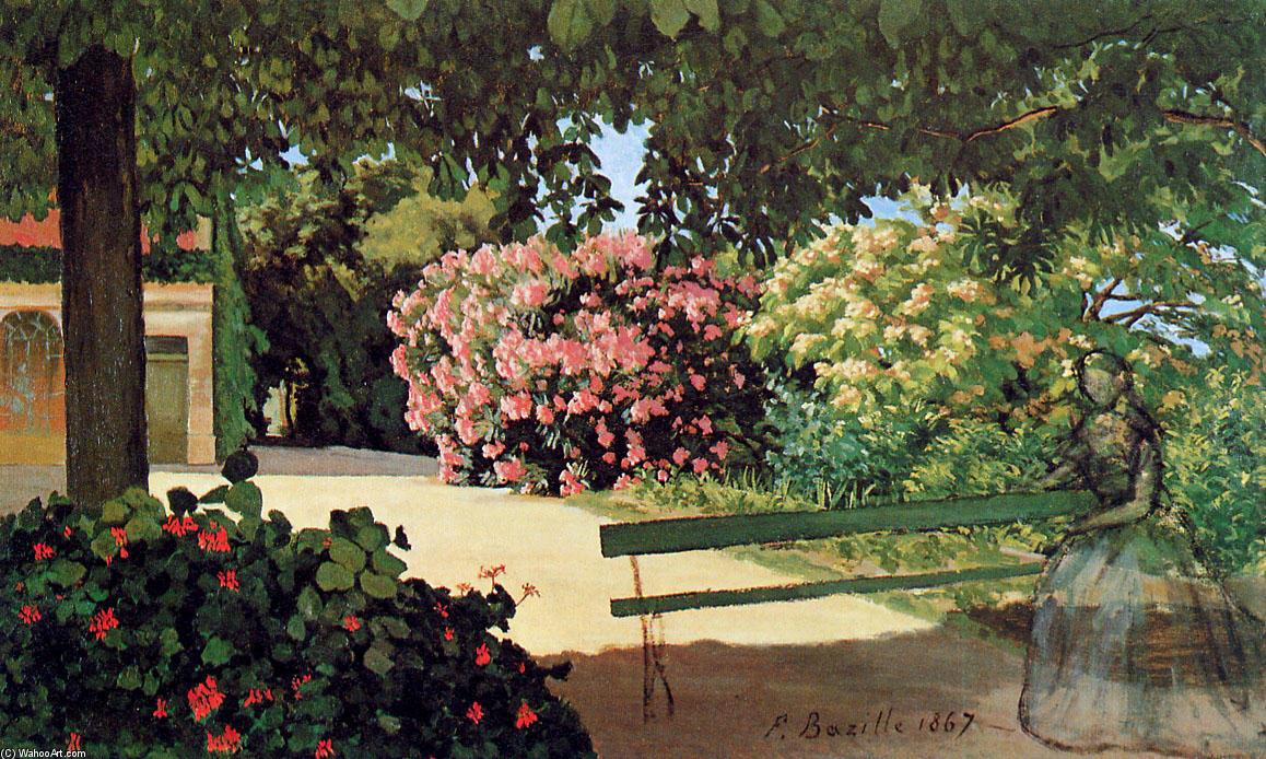 famous painting The Terrace at Méric (Oleander) of Jean Frederic Bazille