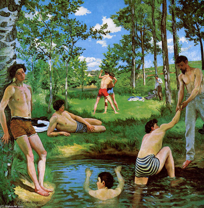 famous painting Bathers (Summer Scene) of Jean Frederic Bazille