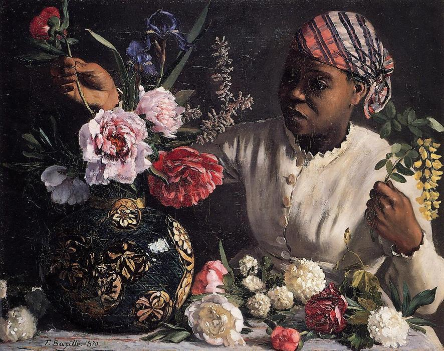 famous painting Negress with Peonies of Jean Frederic Bazille