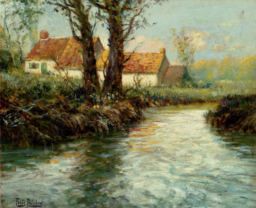famous painting House by yhe Water's Edge of Frits Thaulow