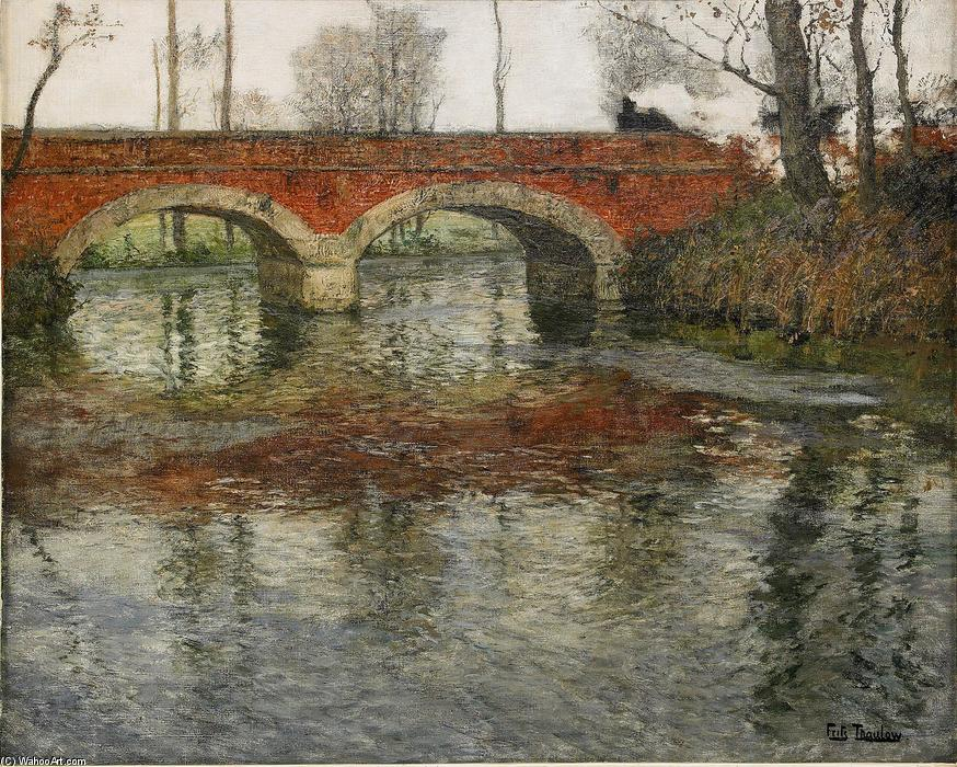 famous painting French River Landscape with a Stone Bridge of Frits Thaulow