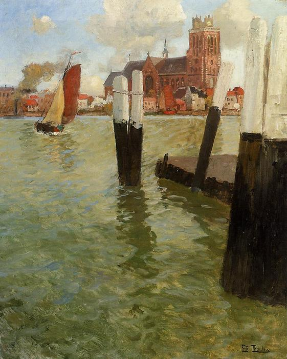 famous painting The Pier, Dordrecht of Frits Thaulow