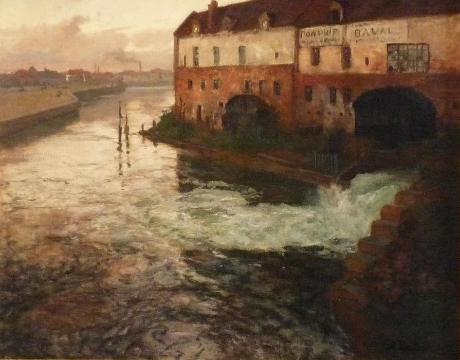 famous painting Old factory on the Somme (Evening) of Frits Thaulow