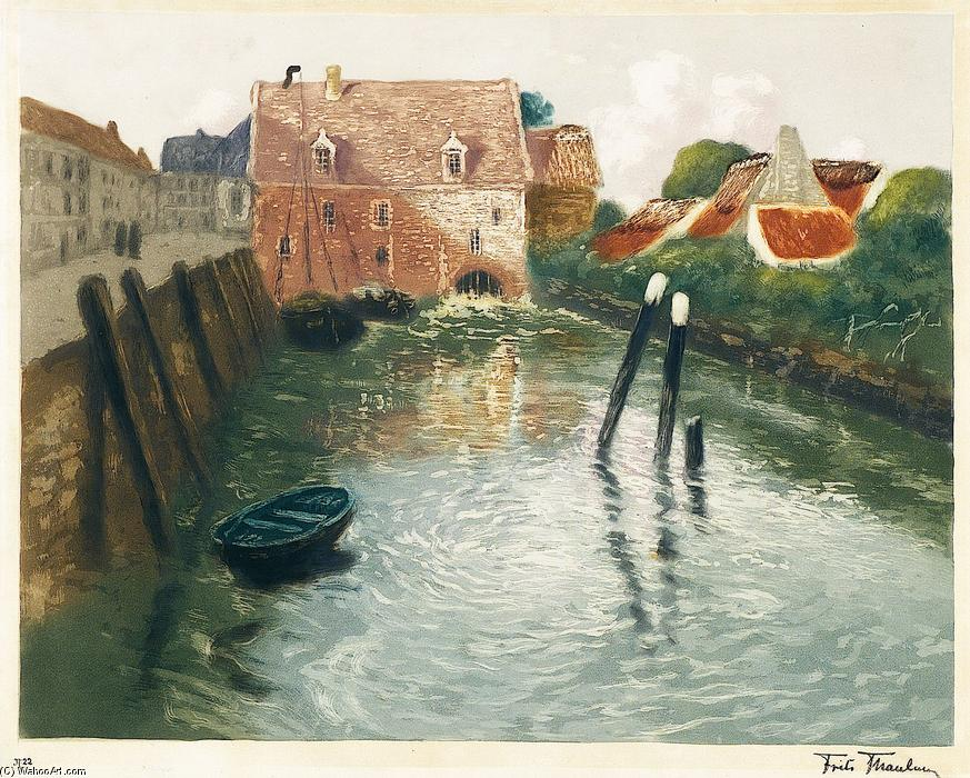 famous painting Channel with Watermill of Frits Thaulow