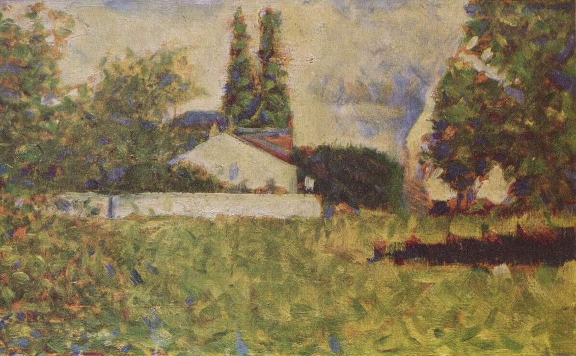 famous painting A house between trees of Georges Pierre Seurat