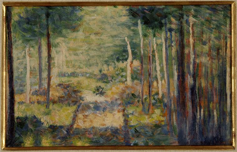 famous painting Alley in the forest, Barbizon of Georges Pierre Seurat