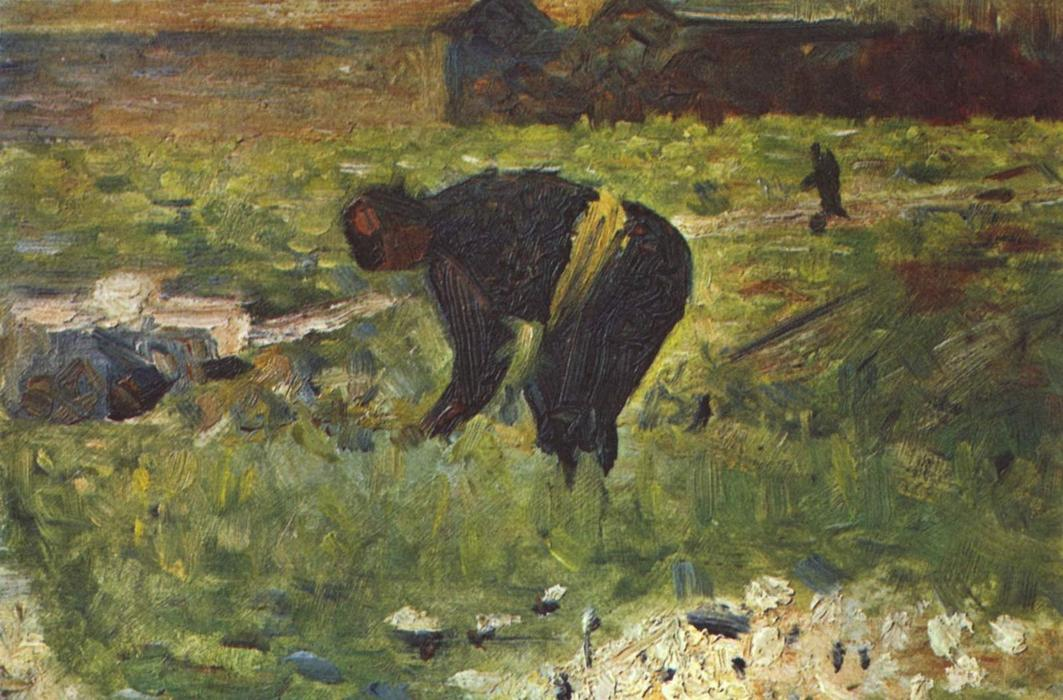 famous painting Farmer to work of Georges Pierre Seurat