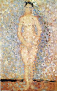 Georges Pierre Seurat - Poseur standing, front view, study for ''Les poseuses''