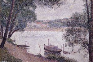 Georges Pierre Seurat - River Landscape with a boat