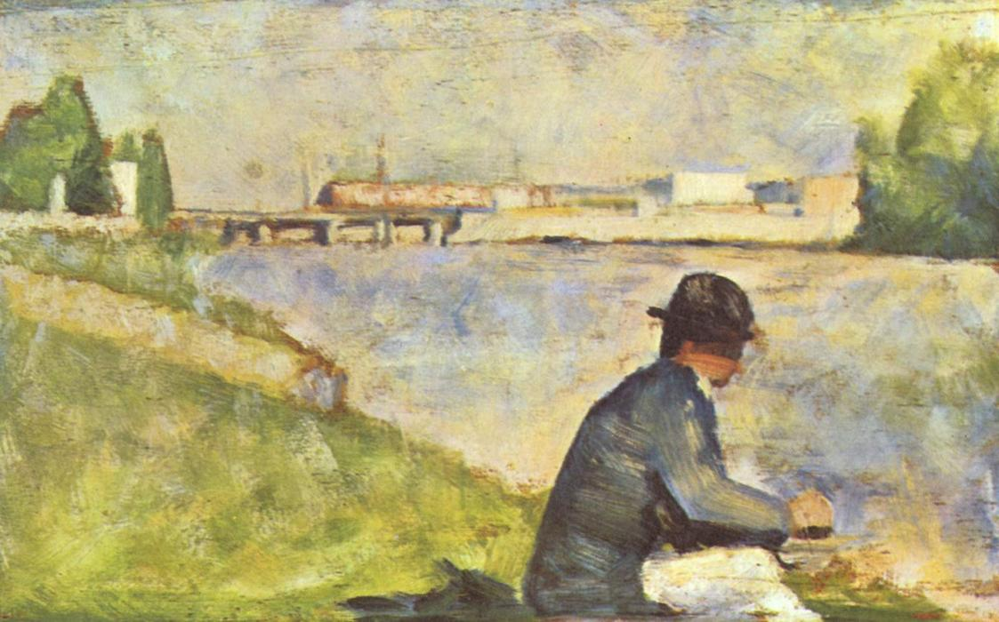 famous painting Seated Man. Study for ''Bathers at Asnieres'' of Georges Pierre Seurat