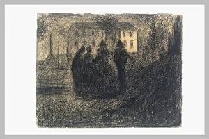 Georges Pierre Seurat - Group of figures in front of a house and some trees