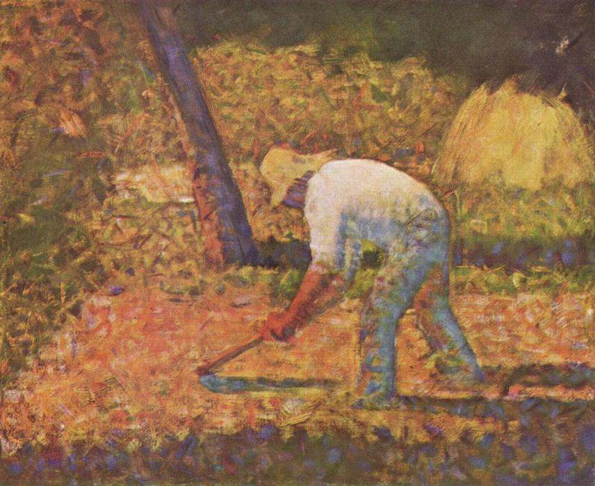 famous painting Peasant with Hoe of Georges Pierre Seurat