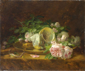 Georgios Jakobides - Platter with Seashells, Roses, Pearls and Earrings
