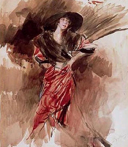 famous painting Lady in Red Dress of Giovanni Boldini