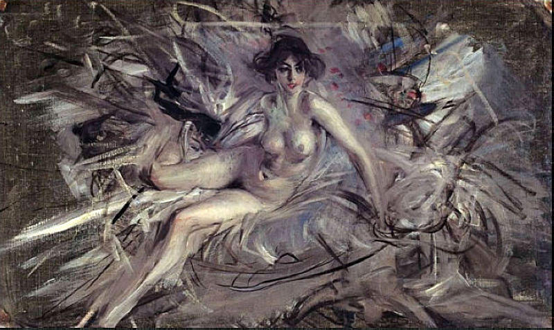 famous painting Nude of Young Lady on Couch of Giovanni Boldini