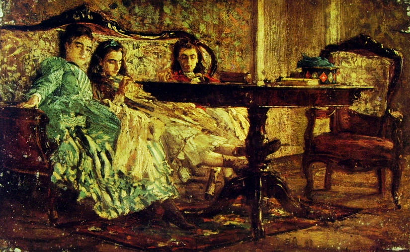 famous painting The Sisters Laskaraki of Giovanni Boldini