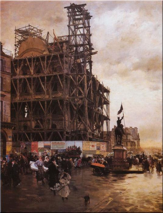 famous painting The Place des Pyramides, Paris of Giuseppe De Nittis