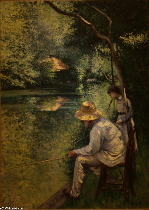 famous painting Angling of Gustave Caillebotte