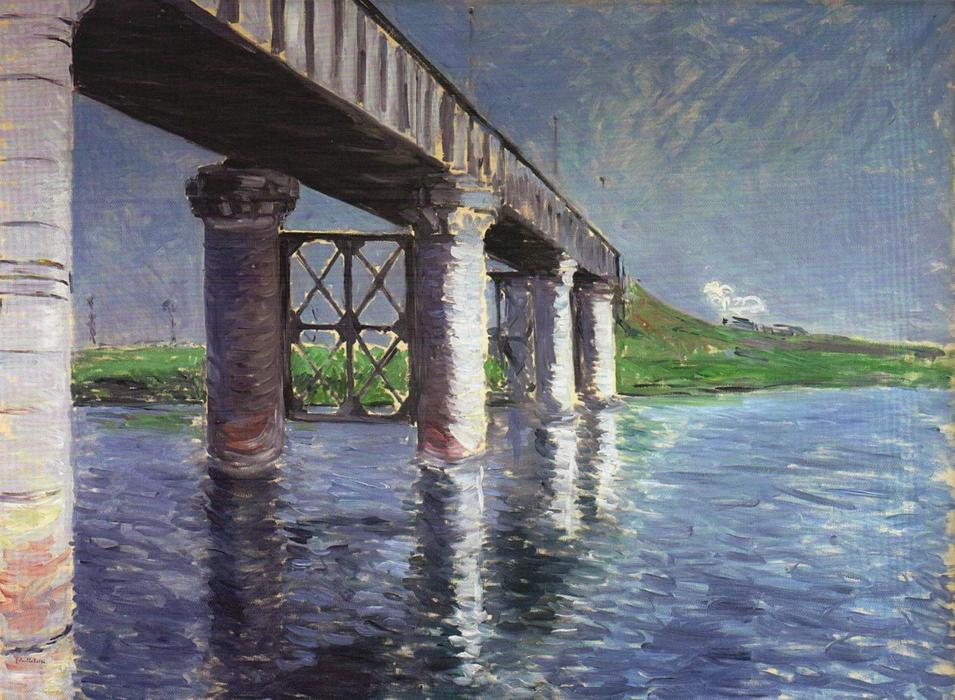 famous painting The Bridge at Argenteuil of Gustave Caillebotte