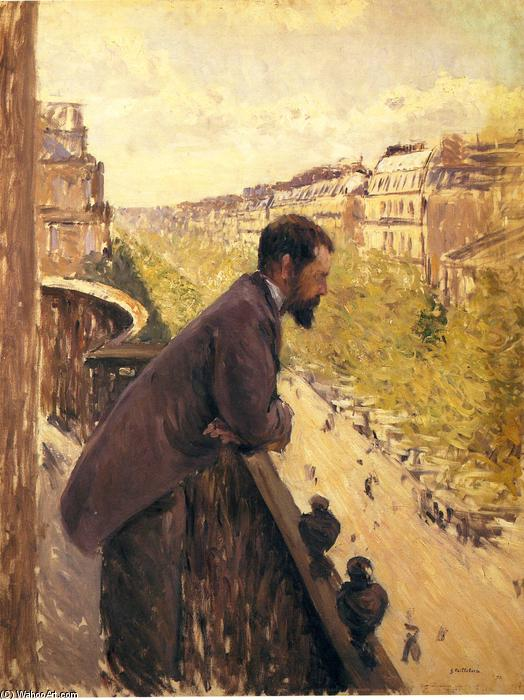 famous painting Man on a Balcony of Gustave Caillebotte