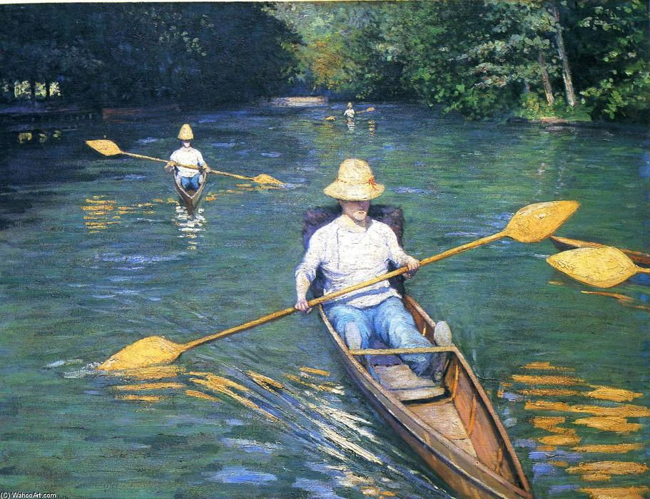 famous painting Skiffs on the Yerres of Gustave Caillebotte