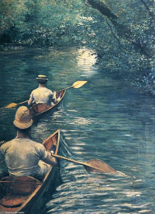 famous painting The Canoes of Gustave Caillebotte