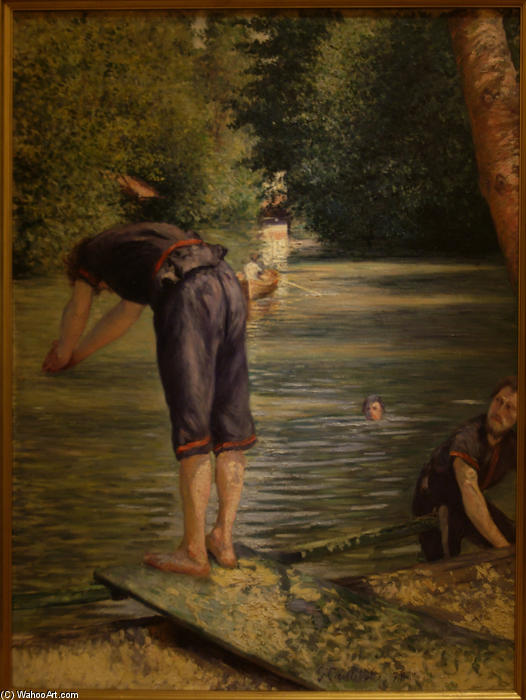 famous painting Bathers on the Banks of the Yerres of Gustave Caillebotte