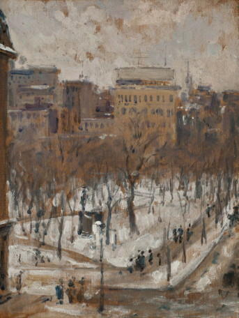 famous painting Square in Paris, Snowy Weather of Gustave Caillebotte