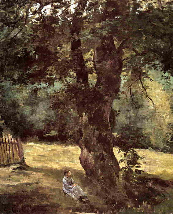 famous painting Woman Seated Beneath a Tree of Gustave Caillebotte
