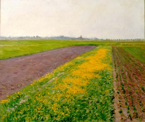 famous painting Plain of Gennevilliers of Gustave Caillebotte