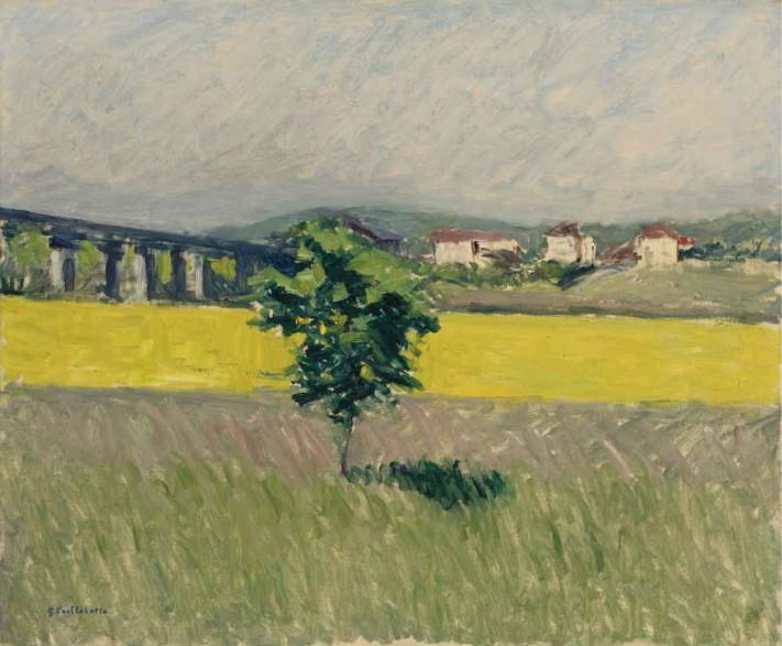 famous painting Meadow Bridge at Argenteuil of Gustave Caillebotte