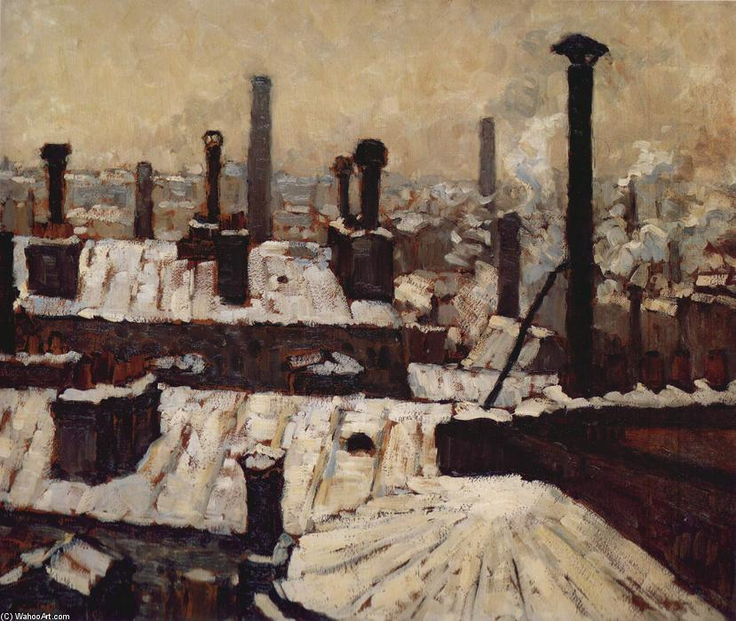famous painting Roof under the Snow, Paris of Gustave Caillebotte