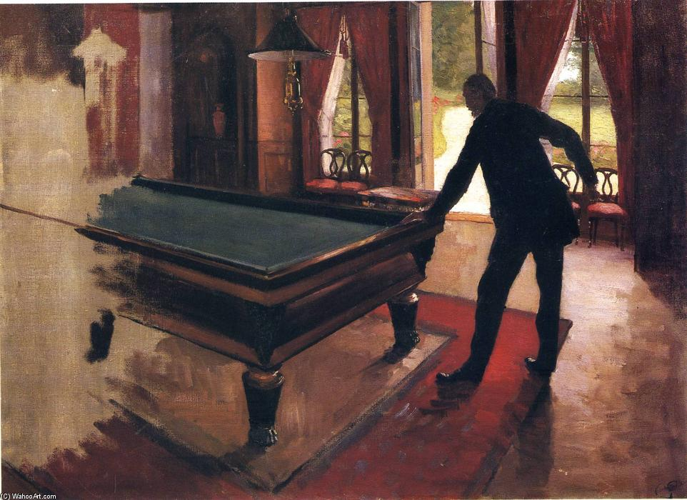 famous painting Billiards of Gustave Caillebotte