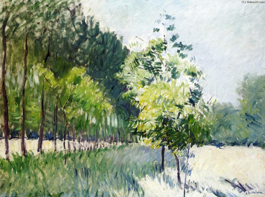 famous painting Orchard and avenue of trees of Gustave Caillebotte