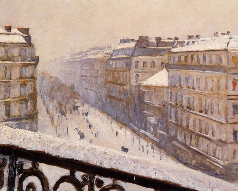 famous painting Boulevard Haussmann in the Snow of Gustave Caillebotte