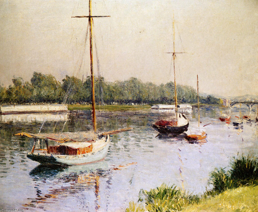 famous painting The Harbour of Argentueil of Gustave Caillebotte