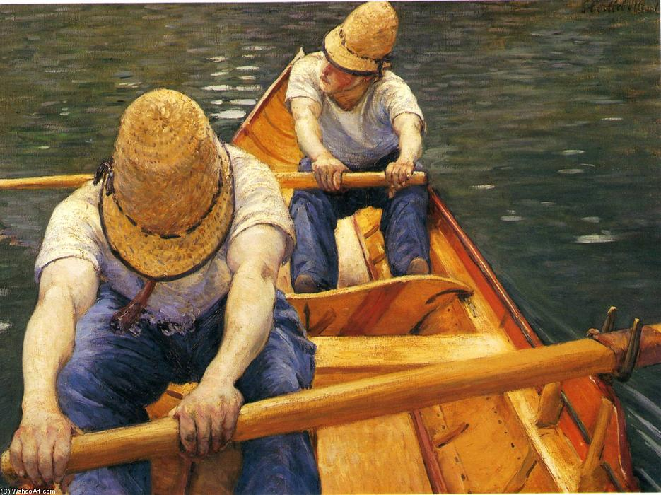 famous painting Boaters Rowing on the Yerres of Gustave Caillebotte