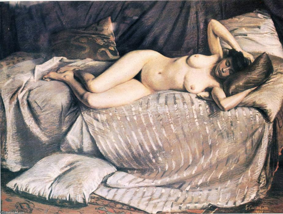famous painting Naked Woman Lying on a Couch of Gustave Caillebotte