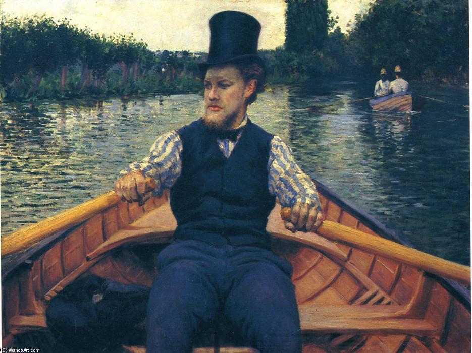 famous painting Rower in a Top Hat of Gustave Caillebotte