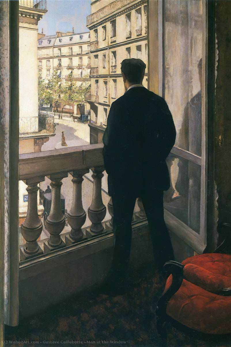 famous painting Man at the Window of Gustave Caillebotte