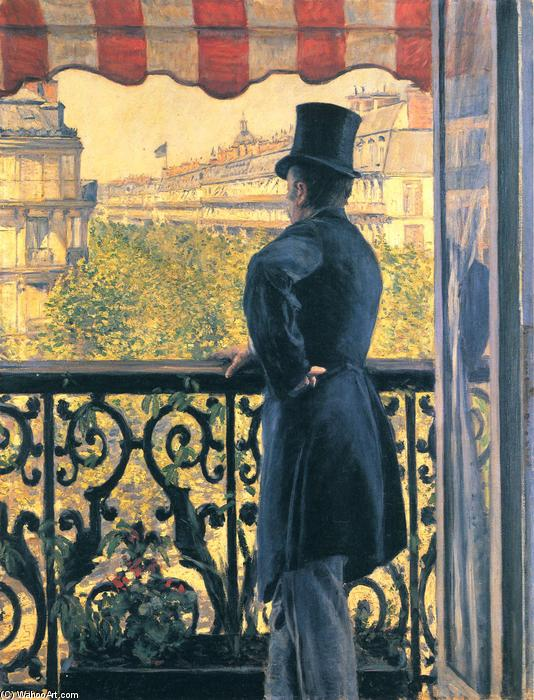 famous painting Man on a Balcony, Boulevard Haussmann of Gustave Caillebotte