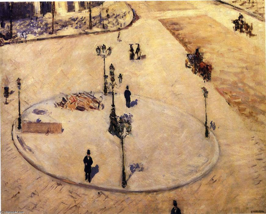 famous painting Traffic Island on Boulevard Haussmann of Gustave Caillebotte