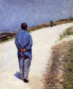 Gustave Caillebotte - Pere Magloire on the Road to Saint-Clair, Etretat