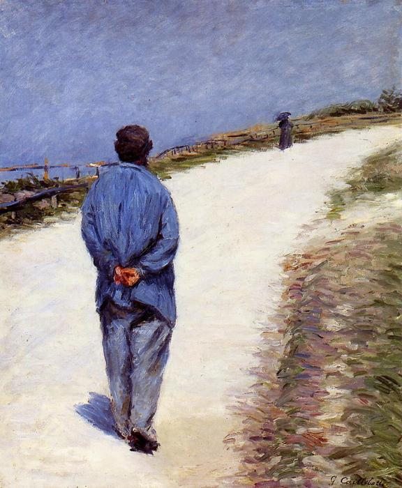 famous painting Pere Magloire on the Road to Saint-Clair, Etretat of Gustave Caillebotte