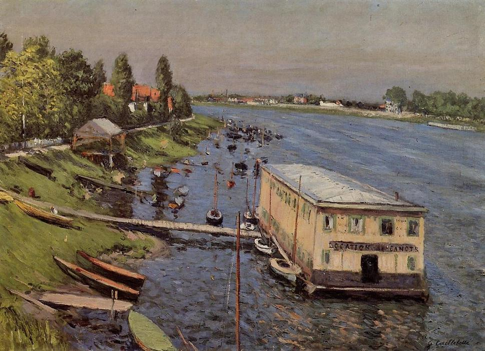famous painting The Pontoon at Argenteuil of Gustave Caillebotte